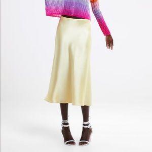 Zara Yellow Satin Midi Skirt